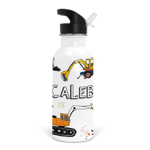 construction dump truck personalized stainless steel kids water bottle
