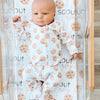 cookie print baby newborn swaddle with name