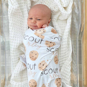 cookie print personalized swaddle