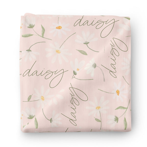 blush pink daisy personalized swaddle