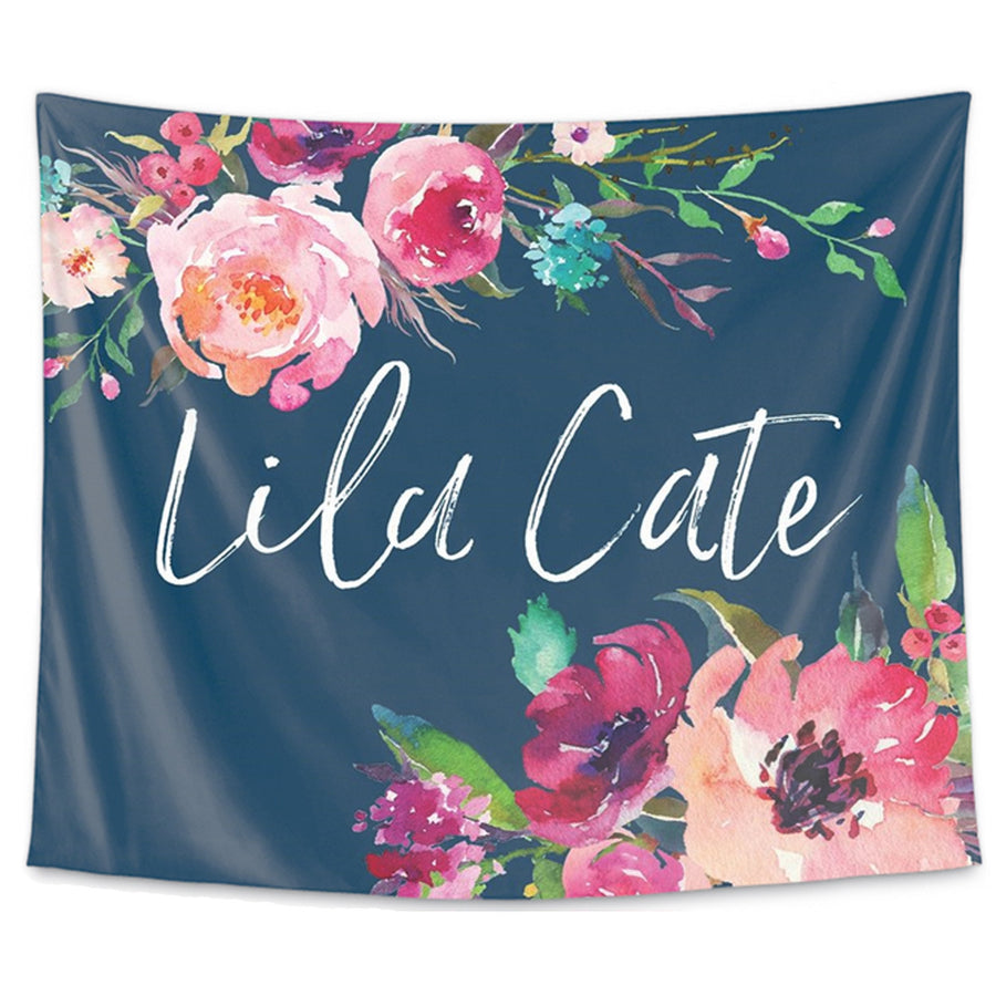navy with watercolor floral personalized wall nursery tapestry