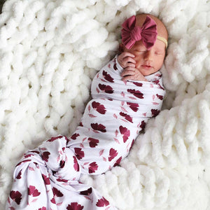 burgundy floral swaddle