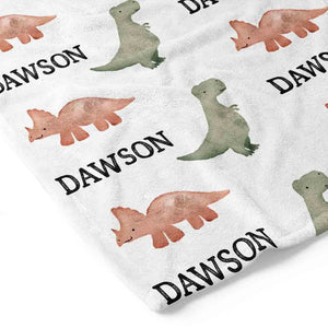 personalized dinosaur toddler blanket