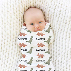 Dawson's Dino Personalized Baby Name Swaddle Blanket