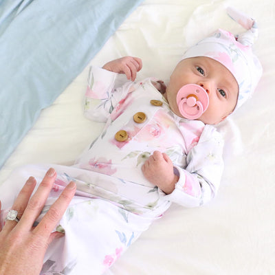 Delaney's Dusty Blush Floral Newborn Baby Knot Gown & Hat