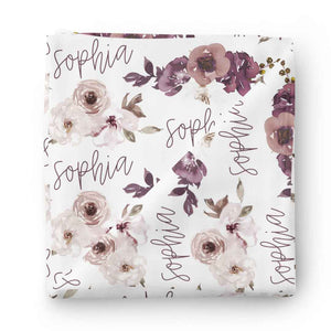 Demi's Dusty Purple Floral Personalized Baby Name Swaddle
