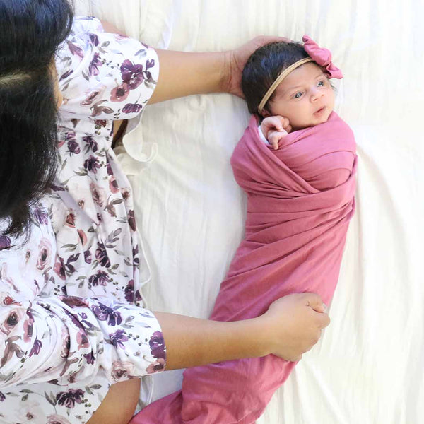 Solid Dusty Rose Bamboo Knit Swaddle Blanket