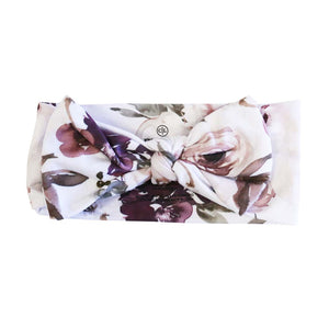purple floral baby headwrap