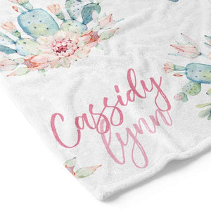 Desert Cactus Blooms Personalized Toddler Blanket