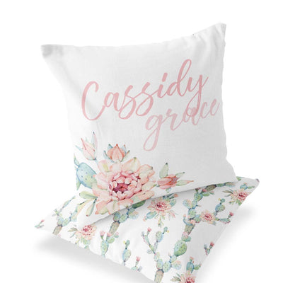 Girly Cactus Custom Name Accent Pillow for a Baby Girl's Nursery