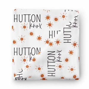 desert sun personalized swaddle orange rust