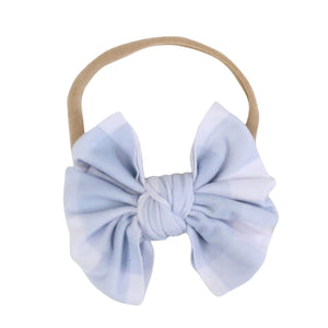 Dusty Blue Gingham Knit Bow Headband