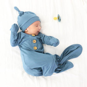 Solid Dusty Blue Bamboo Baby Knot Gown & Hat*