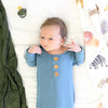 Solid Dusty Blue Bamboo Baby Knot Gown & Hat