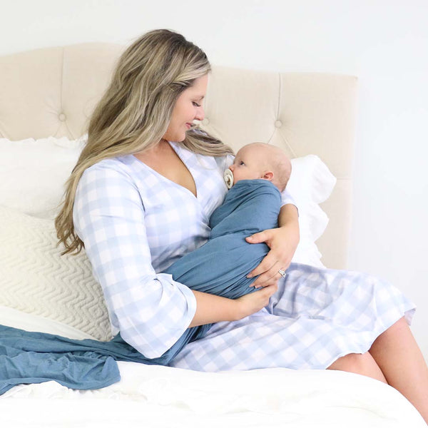dusty blue gingham maternity robe