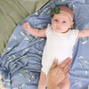 dusty blue personalized swaddle boy or girl