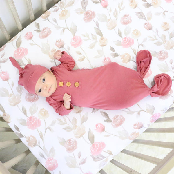 Solid Dusty Rose Bamboo Baby Knot Gown & Hat