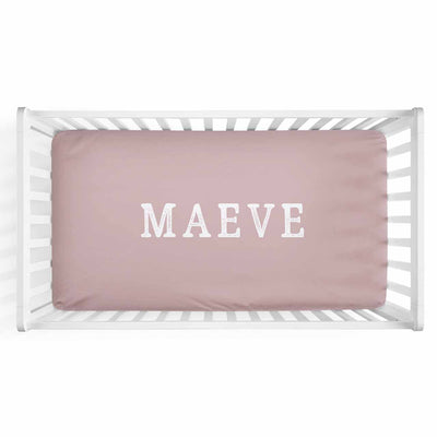 Personalized Baby Name Mauve Color Jersey Knit Crib Sheet in Block Print Style