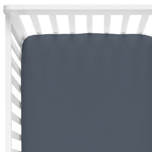 Solid Dusty Blue Bamboo Knit Crib Sheet