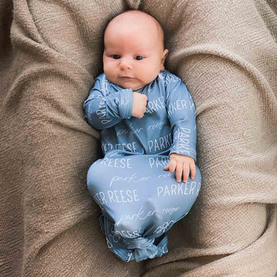 dusty blue baby boy newborn outfit personalized