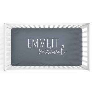 Personalized Crib Sheet in Dusty Blue | Classic Font Duo