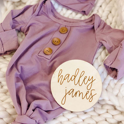 dusty purple newborn outfit