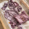 Custom Solid Dusty Purple Personalized Newborn Baby Knot Gown