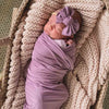 dusty purple soft stretchy swaddle