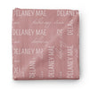 dusty rose personalized swaddle