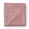 dusty rose personalized swaddle in script