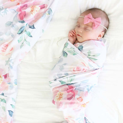 ella dusty rose soft stretchy newborn swaddle
