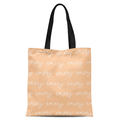 solid apricot personalized kids custom name tote bag