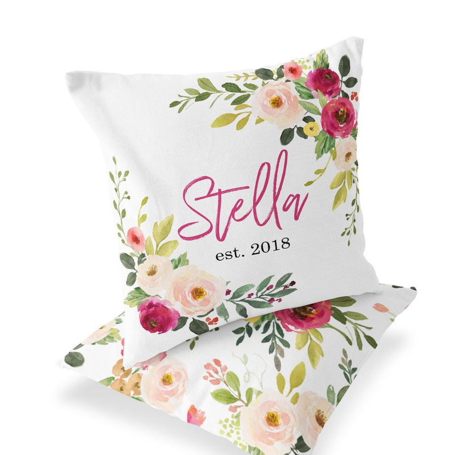 Front & Back of Custom Baby Name Nursery Accent Pillow with Farmhouse Floral Pattern
