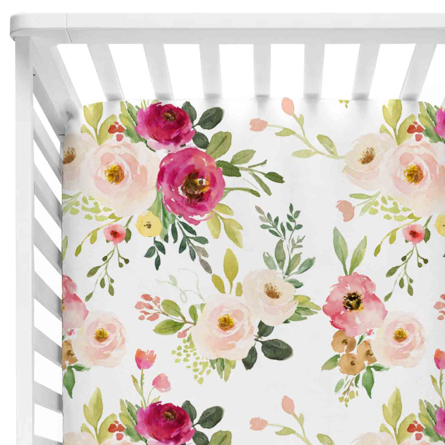 franny's farmhouse floral crib sheet with blush and magenta flowers