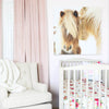 Baby girl's Farmhouse Nursery with Franny's Farmhouse Floral Bedding & Horse Picture