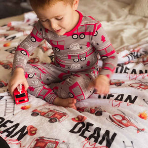 firetruck kids blanket personalized