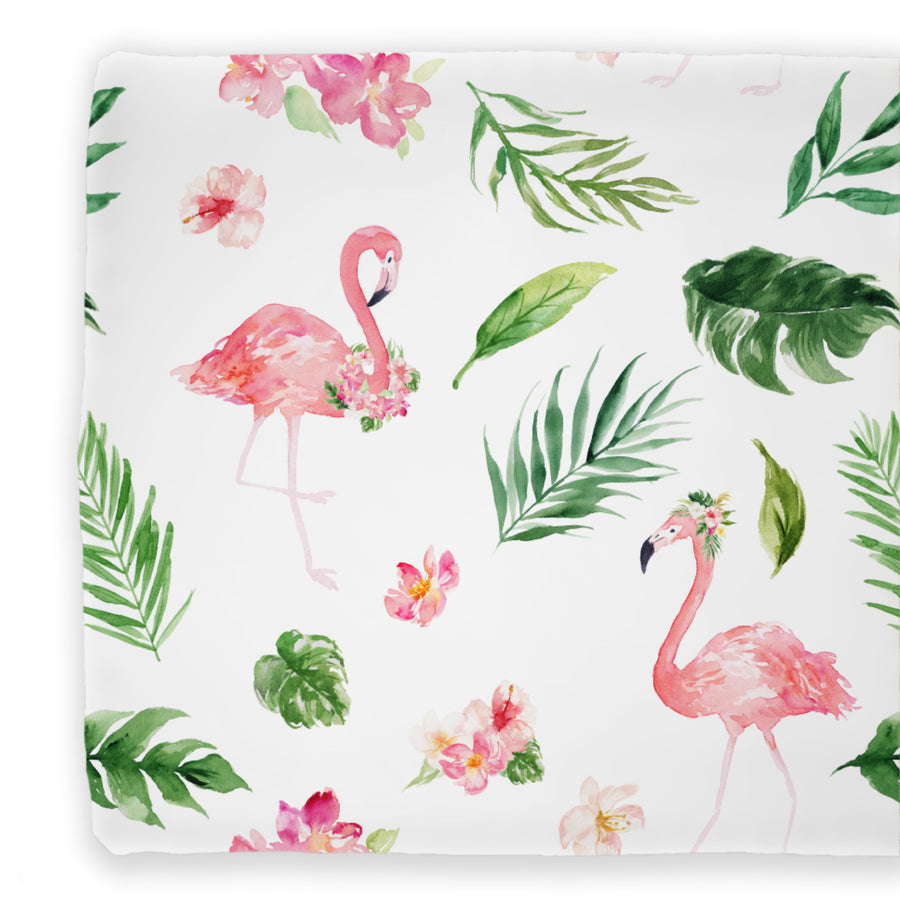 watercolor tropical palm leaves with pink flamingo's on a changing pad cover