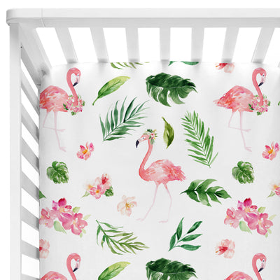 watercolor tropical palm leaves with pink flamingos on a fitted crib sheet