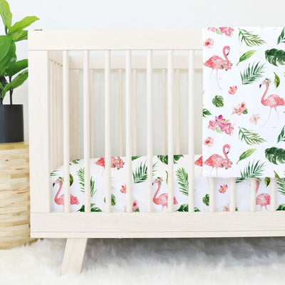 Tropical Floral Flamingo Baby Bedding Set