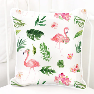floral flamingos with palm leaves tropical nursery pillow