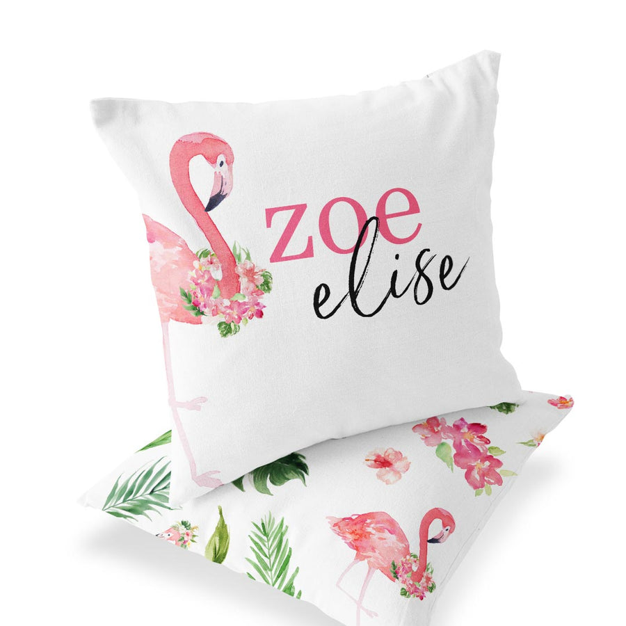 Tropical Floral Flamingo Custom Baby Name Throw Pillow for the Nursery