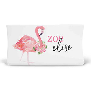 Tropical Floral Flamingo Personalized Fitted Changing Pad Cover