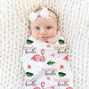 floral flaming personalized swaddle blanket