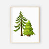 group of two green forest trees art prints