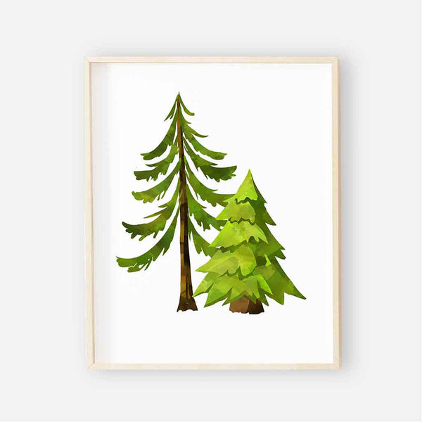 forest trees woodland nursery print