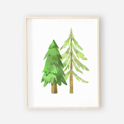 shades of green tree nursery art print