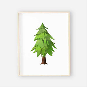 little green tree woodland nursery print