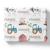 farm themed personalized toddler blanket