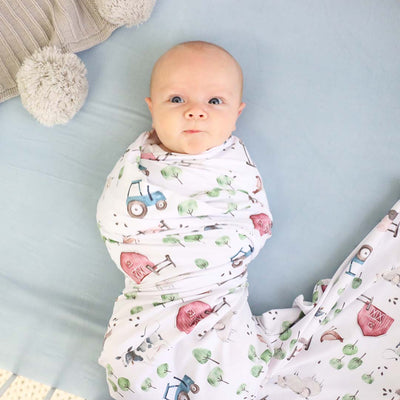 Frankie's Farm Party Oversized Swaddle Blanket*