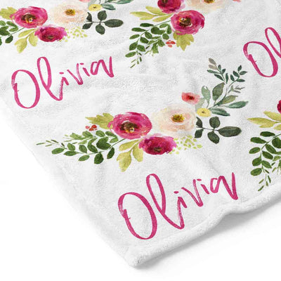 Franny's Farmhouse Floral Personalized Toddler Blanket